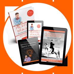 Profitáló Weboldal pénzkidobás nélkül című könyv és további 2 e-book a sikeres internetes megjelenéshez.
