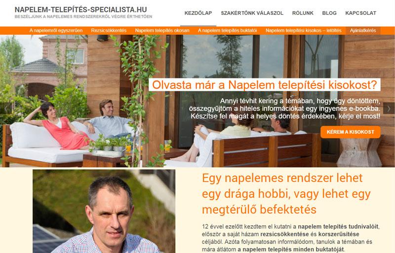 Weboldalkészítés - Websiker Weboldal Csomaggal - napelem-telepites-specialista.hu